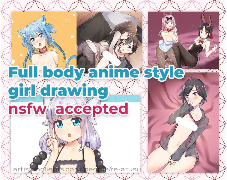 full body nsfw anime style girl drawing