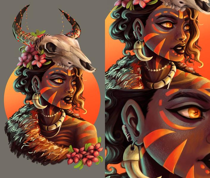 Colored Character Portrait Digital