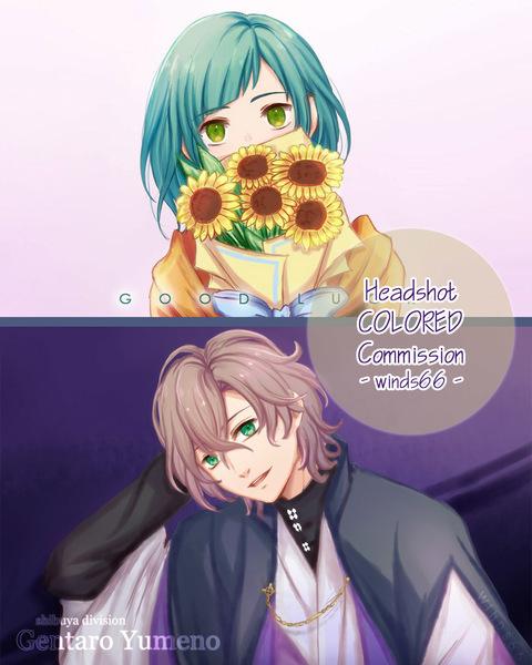 Colored Headshot anime style