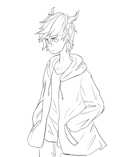 Simple Anime Lineart (Black & White)