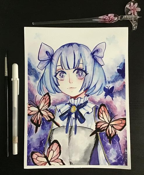 Watercolour anime portrait