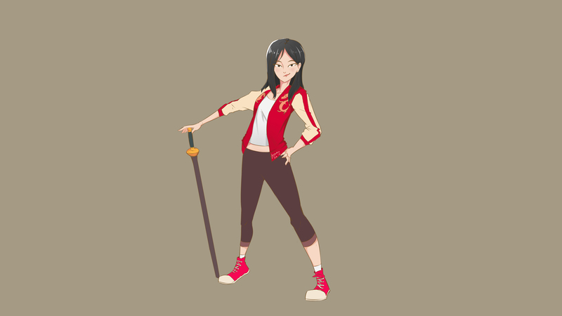 Simple colored Illustration full-body