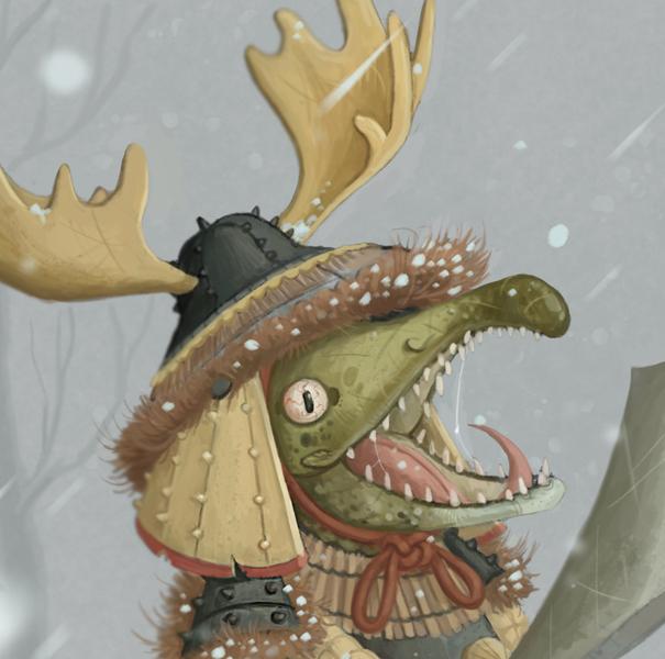 Animal Headshot Painting - Semi-Realistic