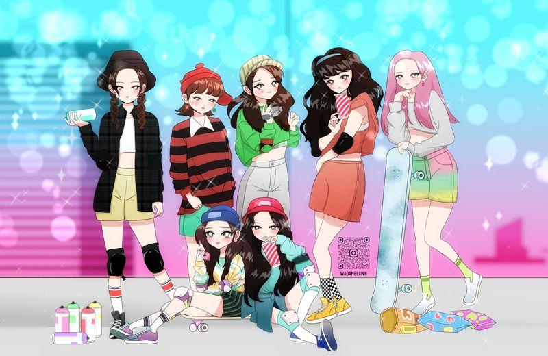 80's anime style full body group